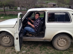 With a license in his possession for only a week, Shota is ready to drive a Lada 4x4