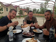 Lars, Shota and Robby enjoying our last meal in Georgia
