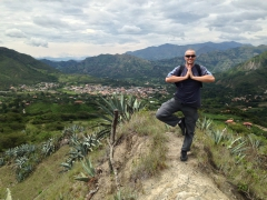 Robby strikes a silly pose at one of the awesome viewpoints while hiking around Vilcabamba
