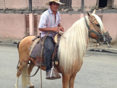 A nice local cowboy stops in the street for Becky to snap a photo; Vilcabamba