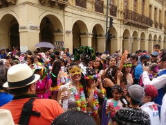 The streets around Cuenca's Parque Calderon become packed with celebrating spectators and Carneval Parade participants
