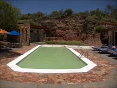 One of several warm outdoor pools at the mineral mineral baths of Piedra de Agua Fuente Termal & Spa; Cuenca