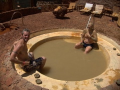 After the red was dried, we showered off and applied the blue mud for additional minerals that are good for the skin; Piedra de Agua Fuente Termal & Spa, Cuenca