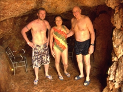 Robby, Ann and Bob prepare to enter the underground cave pools; Piedra de Agua Fuente Termal & Spa, Cuenca