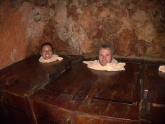 It felt a bit like we were trapped in some ancient torture devices, but these are steam boxes in the underground caves at Piedra de Agua Fuente Termal & Spa; Cuenca