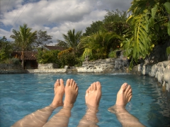 Becky and Robby go for a chilly dip in the pool at Hosteria Izhcayluma; Vilcabamba