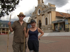 Bob and Ann pose in front of the church  at Parque Central after after our 'easy' three-hour hike in the mountains around the town; Vilcabamba