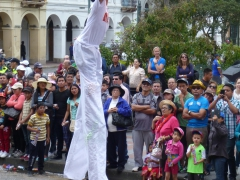 Multi-talented stilt-walking flame blower was one of many interesting things to see during the Carneval Parade in Cuenca