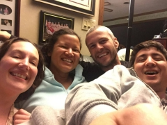 Becca, Becky, Robby & Luke taking a selfie after a game of Catan; Hopkinton, MA