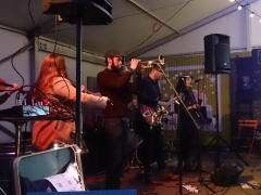 Enjoying some live music at the Slumbrew Beer Garden tent; Somerville, MA