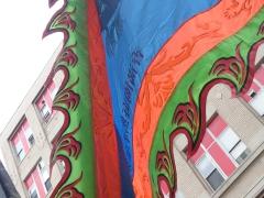 Colorful flag at Chinese New Year celebration; Boston; MA