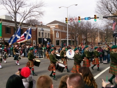 Bagpipes being played during the St Patrick's Day parade, Alexandria, VA
