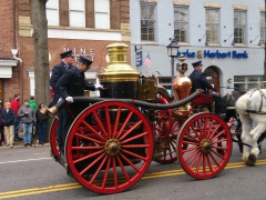 Old firefighter wagon in the St Patrick's Day parade, Alexandria VA