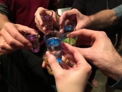 Enjoying a shot of Mongolian vodka with Therese, Tom, Jessie & Greg; Alexandria, VA
