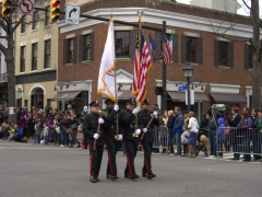 Firefighter color guard at St Patrick's Day parade; Alexandria, VA