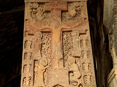 Intricate carved khachkar at Haghpat Monastery