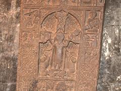 Jesus carved on a khachkar; Sevanavank
