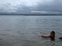 Lars takes a refreshing dip in Lake Sevan
