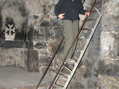Robby on the staircase at Khor Virap's prison well