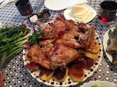 Delicious chicken and potatoes meal at our Armenian home stay
