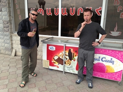 The boys munching on ice cream bars (25 cents each...bargain)