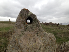 One of dozens of massive stones at Zorats Karer. The astronomical design was most evident during solstices and equinoxes