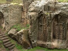 Carvings outside Geghard Monastery