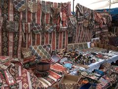 Carpet bags on display at Vernissage Market