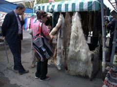 Animal furs for sale; Vernissage Market