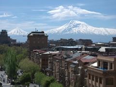Beautiful Mount Ararat in the distance; Yerevan